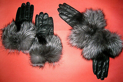 Womens  Black Lambskin Leather Gloves With Natural Silver Fox Trim