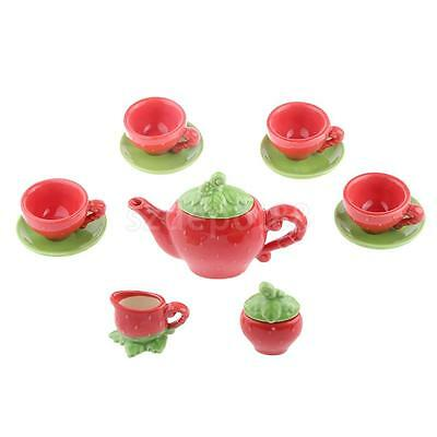 Strawberry Porcelain Tea Set Game Miniature Pot Collectible Child TOY Gift