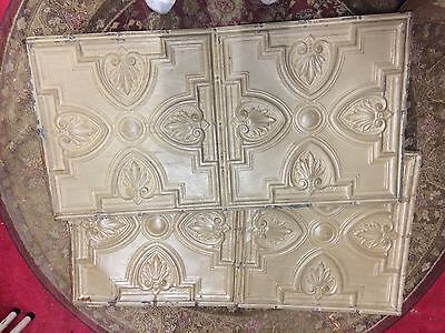 Antique Metal 24.5 X 49 Inch Art Nouveau Deco Victorian Tin Ceiling Tile Ornate