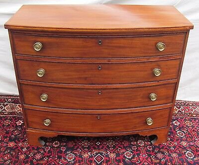 Federal Period Boston Bow Front Mahogany Dresser On Rare Reverse Bracket Base