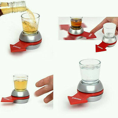 Spin The Bottle Adult Fun Drinking Game Gift Party Bar Spinner Includes Glass