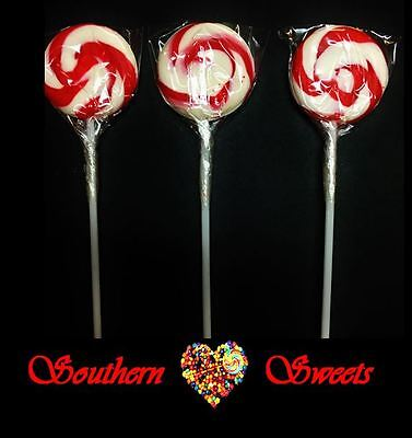 Xmas Swirl Red & White Lollipops Red & White Lollies 50Ct Christmas Candy Buffet