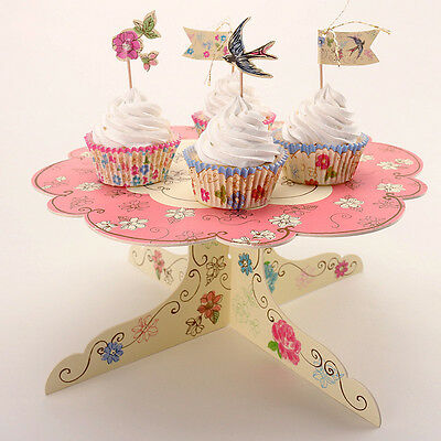 Tea Cupcake Cake Muffin Cardboard Stand Display Holder Flower Party Wedding