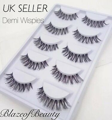 False Eyelashes Demi Wispies Natural Wispy Long Eye Lashes 5 Pairs Set Dupes UK