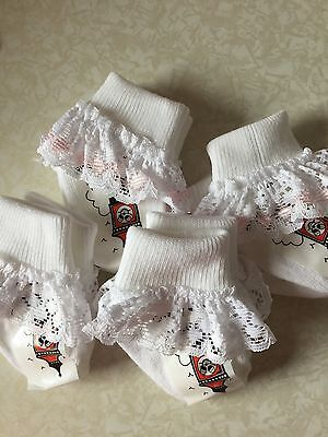 Premature Tiny Baby Girl White Pink Lace Frilly Socks Quality Summer Party 0-0