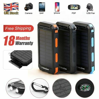 Waterproof 300000mAh Solar Power Bank 2USB Battery Portable Charger for Phone UK