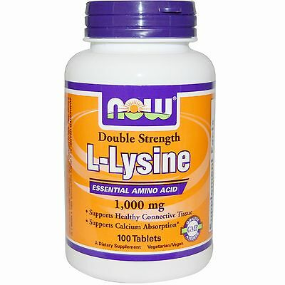 Now Foods, L-Lysin, Double Strength, 1000mg, 100 Tabl.