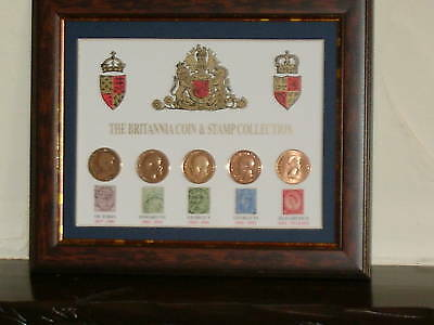 Framed Coin & Stamp Collection From Victoria A Very Nice Gift