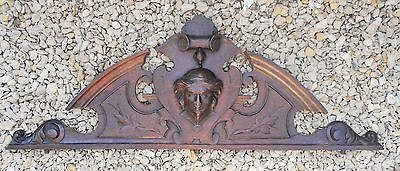 ANTIQUE SOLID FRENCH CARVED WOOD ARCHITECTURAL PEDIMENT/FURNITURE 19th.