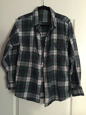 American Apparel Unisex Green Plaid Button Down Long Sleeve Top One Size Pocket