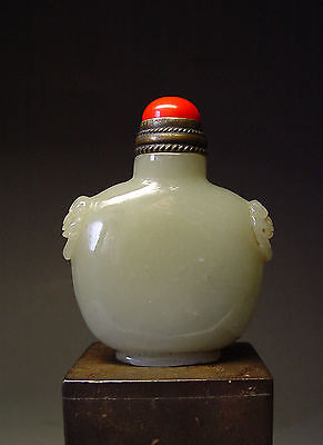ANTIQUE CHINESE IMPERIAL 'CELADON JADE' SNUFF BOTTLE, QING DYNASTY, 18th C.