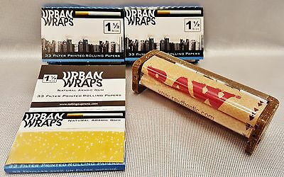 3 Packs Urban Wraps Filter Printed 1 1/2 Rolling Papers 33 Per Pk & Raw Roller