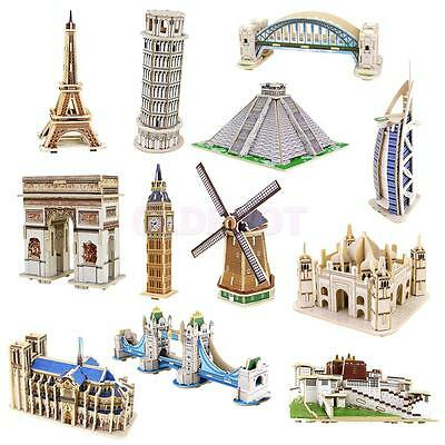 Wooden 3D Puzzle Jigsaw Great Architecture Building Model Kit Kid Toy Present