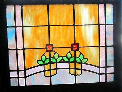~ ANTIQUE AMERICAN STAINED GLASS WINDOW ~ 32.25 x 26 ~ ARCHITECTURAL SALVAGE ~