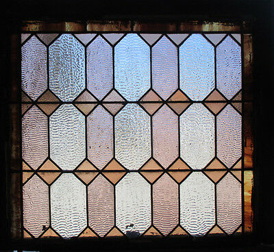 ~ ANTIQUE AMERICAN STAINED GLASS WINDOW ~ 31 x 27 ~ ARCHITECTURAL SALVAGE ~