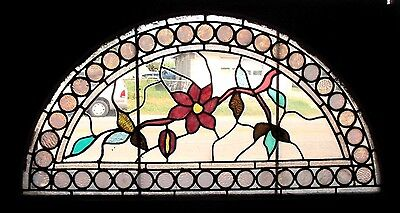 ~ GREAT ANTIQUE AMERICAN STAINED GLASS WINDOWS FLOWERS ~ 44 x 25 ~ SALVAGE