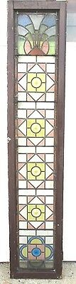~ ANTIQUE AMERICAN STAINED GLASS WINDOW ~ 17.5 x 86 ~ ARCHITECTURAL SALVAGE