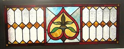 ~ ANTIQUE AMERICAN STAINED GLASS TRANSOM WINDOW 48x19 ~ ARCHITECTURAL SALVAGE ~