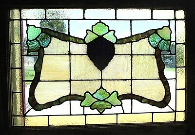~ ANTIQUE AMERICAN STAINED GLASS WINDOW GRAPEVINE 34x25 ARCHITECTURAL SALVAGE ~