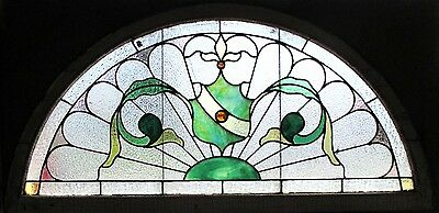 ~ ANTIQUE AMERICAN STAINED GLASS WINDOW 50.5 x 25 ~ ARCHITECTURAL SALVAGE ~