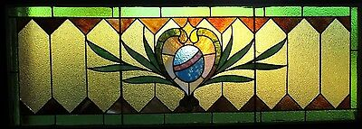 ~ ANTIQUE AMERICAN STAINED GLASS TRANSOM WINDOW ~ 60 x 24.25 ~ SALVAGE