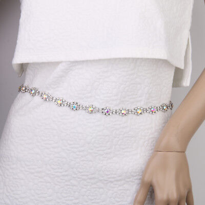 AB Color Rhinestone Diamante Waistbelt Adjustable Chain Belt Womens Fashion