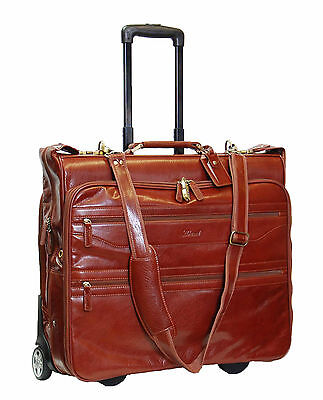 Real Leather Suit Carrier Travel Weekend Bag On Wheels Telescopic Handle Cognac