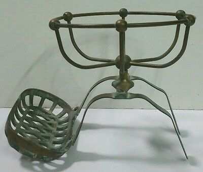 Heavy Antique Victorian Era Solid Brass Claw Foot Tub Architectural Soap Holder