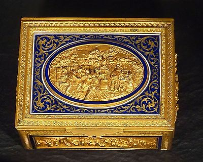 Antique Signed French Xix  Enameled Bronze Superb Jewelry Box High Relief Scene