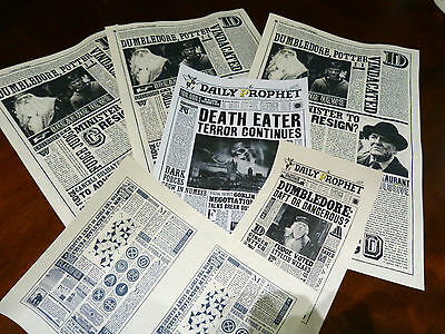 3+3 The Daily Prophet newspaper pages. Not so perfect Harry Potter prop