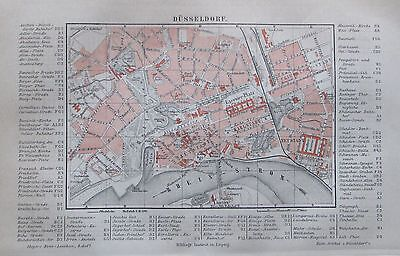 1889 DÜSSELDORF alter Stadtplan Antique City Map Lithographie Deutschland
