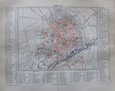 1889 ERFURT alter Stadtplan antique city map Lithographie Thüringen