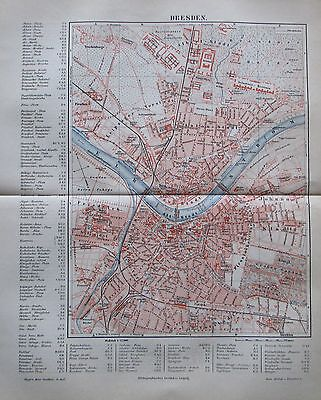 1889 DRESDEN alter Stadtplan antique city map Litho Sachsen