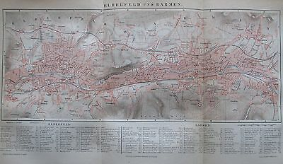 1889 ELBERFELD UND BARMEN alter Stadtplan Antique City Map Litho Deutschland