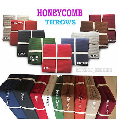 HoneyComb 100% Cotton Blanket  Sofa Bed Throw Waffle Chair  Throws