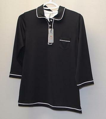 New Ladies Peter Millar E4 polyester spandex Black 3/4 sleeves golf shirt Large
