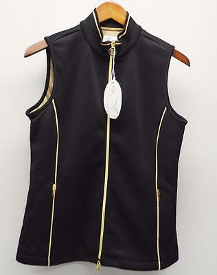 New Womens SMALL Greg Norman Black lined polyester full zip golf wind west