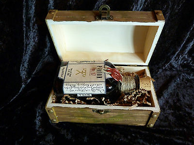 Potion No. 07. Glass bottle jar in wooden chest. Harry Potter movie prop.