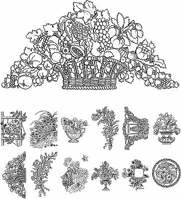 Flowers and Wildflowers Vintage Design for Adult Coloring 24 cards 4x6.5 Adult Coloring Book