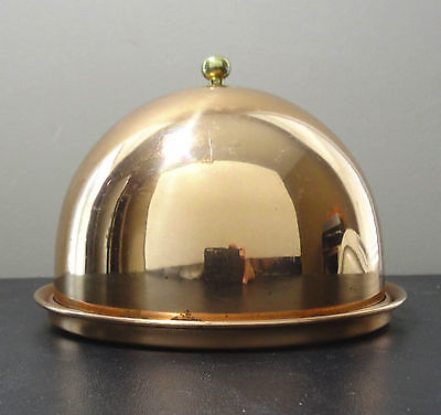 Vintage Copper metal domed butter cheese serving tray plate Brass Knob