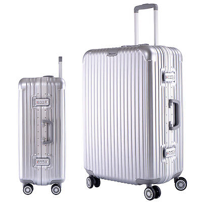 """26"""" Silver Luggage Travel Set Bag ABS+Aluminum frame Trolley Suitcase  4 Wheels"""