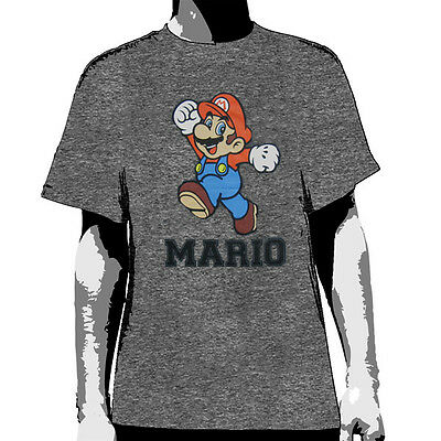 NINTENDO - Mario Jumping on Grey Marle:T-shirt NEW:SMALL ONLY
