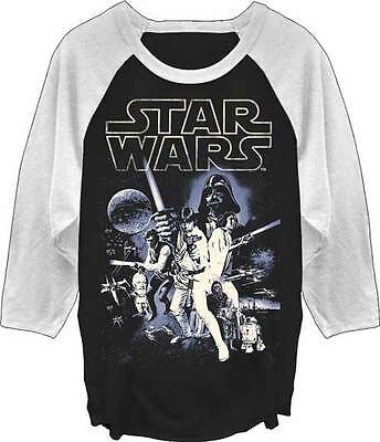 STAR WARS - Vintage Poster Raglan:T-shirt - NEW - LARGE ONLY