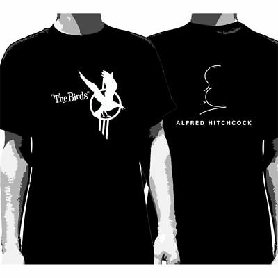 THE BIRDS:Black & White:T-shirt NEW:HITCHCOCK:LARGE ONLY *DISCOUNTED PRICE*