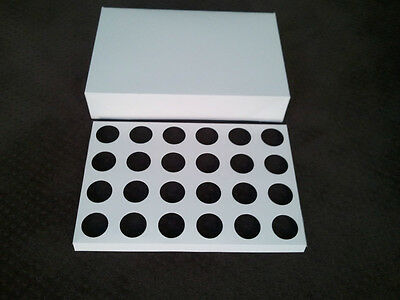 25 x WHITE 24-HOLE CUPCAKE BOX Carrier Transporter Box 10cm high, 6cm hole C12