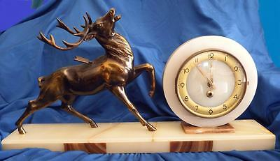 Art Deco Onyx/Marble Mantel clock with a bronze stag Italy circa 1940