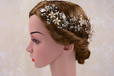Crystal Hair Vine Pearls Bridal Headpiece Gold Headdress Wedding Accessories 1 P