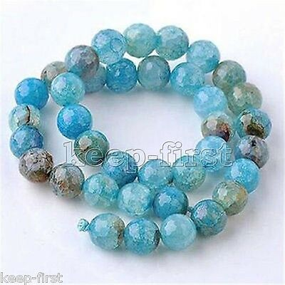 Natural 10mm Blue Dragon Veins Agate Onyx Round Gemstone Loose Beads 15''AAA