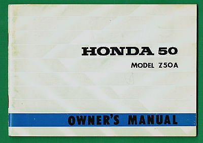 Honda Z 50 A Owners Manual Printed May 1969 Excellent Condition