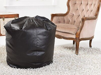 Large Leather Look BEAN BAG in Black Adult Faux Seat Pod Round